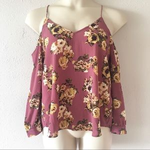 NEW floral cold shoulder blouse